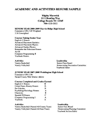 Additional Activities Resume Academic Resume Academic Resume Academic Resume Careers Done