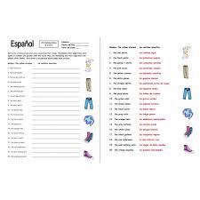 clothing and colors worksheet noun and adjective agreement