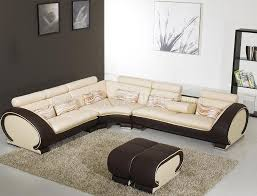 Beige Sectional Sofas Beige Leather Modern Sectional Sofa Brown Sides Yi 816