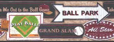 baseball signs wallpaper border sk6295bd vintage boys sports