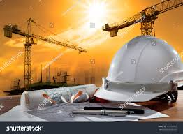 safety helmet architect working table against stock photo