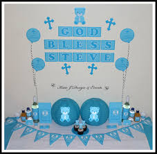 christening decorations shop online personalised boys blue teddy party decorations