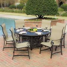 Patio Furniture Sets With Fire Pit by La Salle 7 Piece Sling Patio Dining Set With Fire Pit Table By
