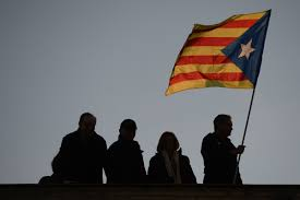 Barcelona Spain Flag Thousands Demand Release Of Jailed Catalan Separatists In