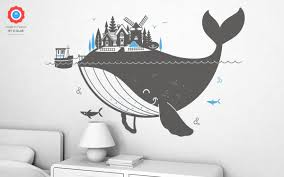whale island xl wall decal nursery kids rooms wall decals kids