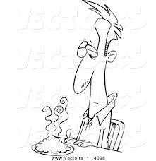 vector cartoon uncertain man green food