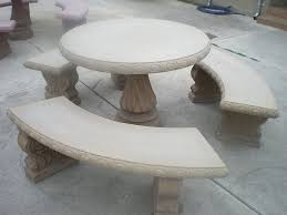 round cement picnic tables concrete cement tan colored round patio picnic table with three