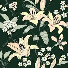Musterk Hen Floral Nahtlose Muster Mit Sanften Blumen Lilie Blühen Nahtlose