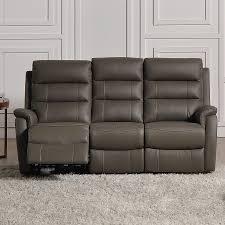 canapé gris cuir canapé gris en cuir 3 places relax électrique sofamobili
