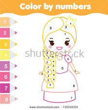 color by numbers educational children game stock vector 717289918