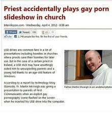 priest accidentally plays slideshow in church