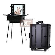 professional makeup trolley luggage case lighted professinal