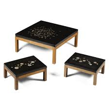 set of three end tables ado chale a rare set of three coffee tables t a b l e d e s k