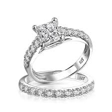 silver wedding ring princess cut cz 925 silver criss cross engagement wedding ring set