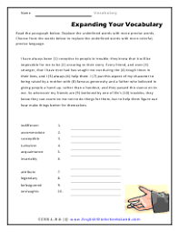 8th grade vocabulary worksheets