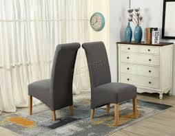 grey linen chair westwood grey linen fabric dining chairs scroll high back springed