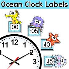 theme clock theme telling time clock labels the sea theme