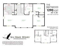 one floor house plans with basement basement one story walkout basement house plans