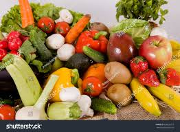 beautiful vegetables fruits middle there space stock photo
