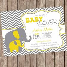 yellow and gray elephant baby shower invitation yellow grey