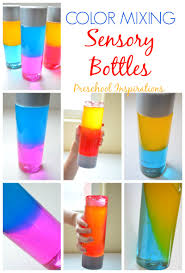 how to make a color mixing sensory bottle preschool inspirations