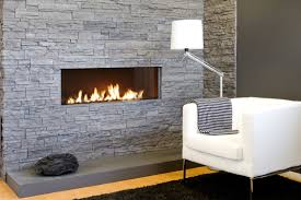 modern gas fireplace logs surface of stone veneer fireplace black