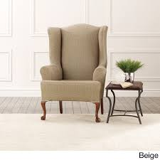 Sure Fit Twill Supreme Chair Slipcover Sure Fit Stretch Stripe Wingback Chair T Cushion Slipcover Sure