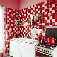 Red Kitchen Decorating Ideas Design Red Chic Mosaic Ceramic Tile Kitchen Backsplash Red