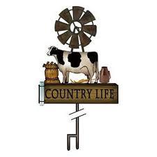 ddi inc backyard expressions cow and windmill rain gauge decor