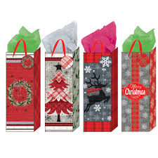 plaid christmas gift bags holiday bottle bags