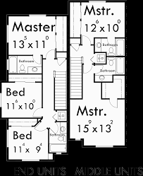 townhouse plans 4 plex house plans 3 story townhouse f 540 upper floor plan