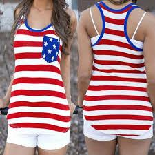 1876 American Flag Women American Flag Patriotic Print Plus Size Sleeveless T Shirt
