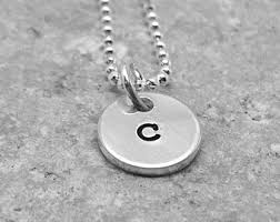 silver necklace with letters images Initial c necklace etsy jpg