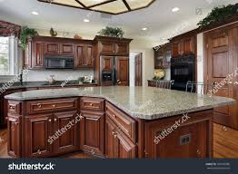 kitchen luxury home large center island stock photo 109770086