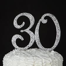 rhinestone number cake toppers 30 cake topper for 30th birthday or anniversary party supplies