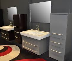 bathroom costly metal cabinet colored in grey with modern