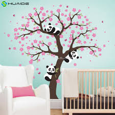Tree Wall Decals For Nursery Aliexpress Com Buy Cute Panda And Cherry Blossom Tree Wall Decal