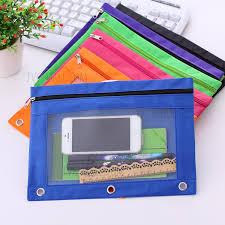 pencil bag 5 pcs oxford cloth clear plastic window 3 ring binder zipper pens
