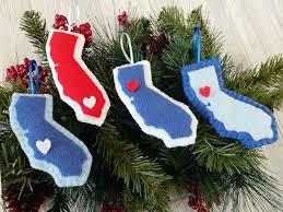 california ornaments felt decor tree decorations
