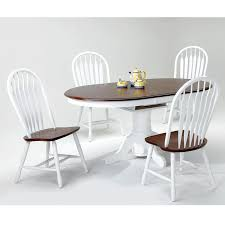 white and chestnut 5 piece dining room table with 4 side chairs