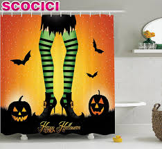 halloween decorations shower curtain set cartoon witch legs with