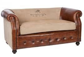 canap marron cuir canapé vintage 2 chesterfields cuir marron clair et coton polo 145x