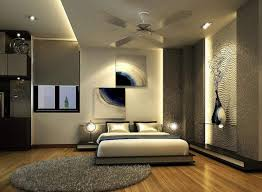 sensational chrome varnished ceiling fan feat modern bedroom recessed lighting over full size low profile bed frame also round grey rugs in contemporary