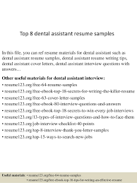 resume exles for dental assistants top 8 dental assistant resume sles 1 638 jpg cb 1429931710