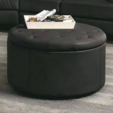 round leather coffee table round storage ottoman coffee table croosle co