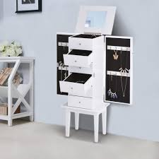 miroir de chambre sur pied ikayaa armoire à bijoux sur pied avec miroir cabinet boîte de