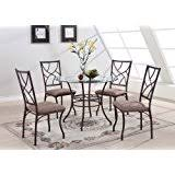 Round Glass Table And Chairs Amazon Com Glass Table U0026 Chair Sets Kitchen U0026 Dining Room