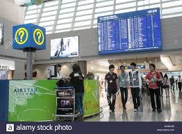 information desk incheon airport seoul south korea stock photo