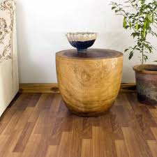 Drum Accent Table by End Tables Solid Wood Thai Furniture Carved Teak Monkey Pod Mango