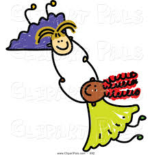 pal clipart of a childs sketch of two happy girls holding hands
